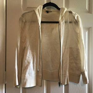 Theory cream linen hoodie
